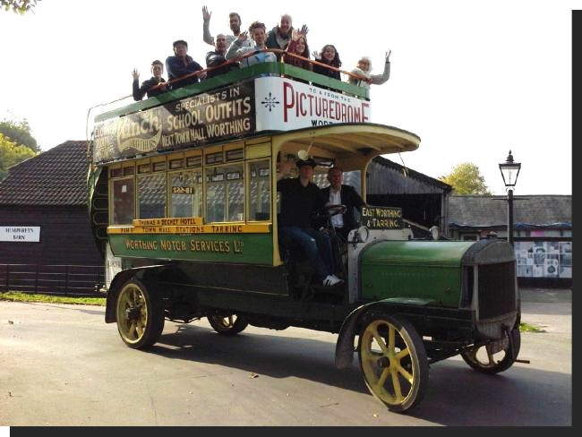 The cast in an authentic period bus. Credit Carol Godsmark